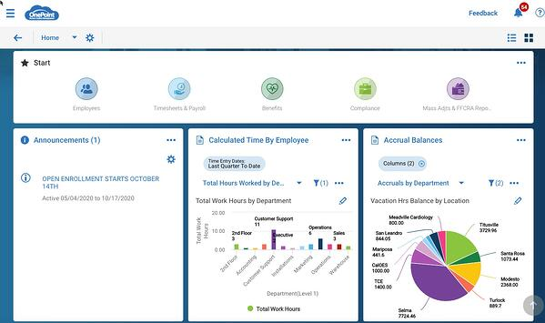 OnePoint Home Dashboard new UI