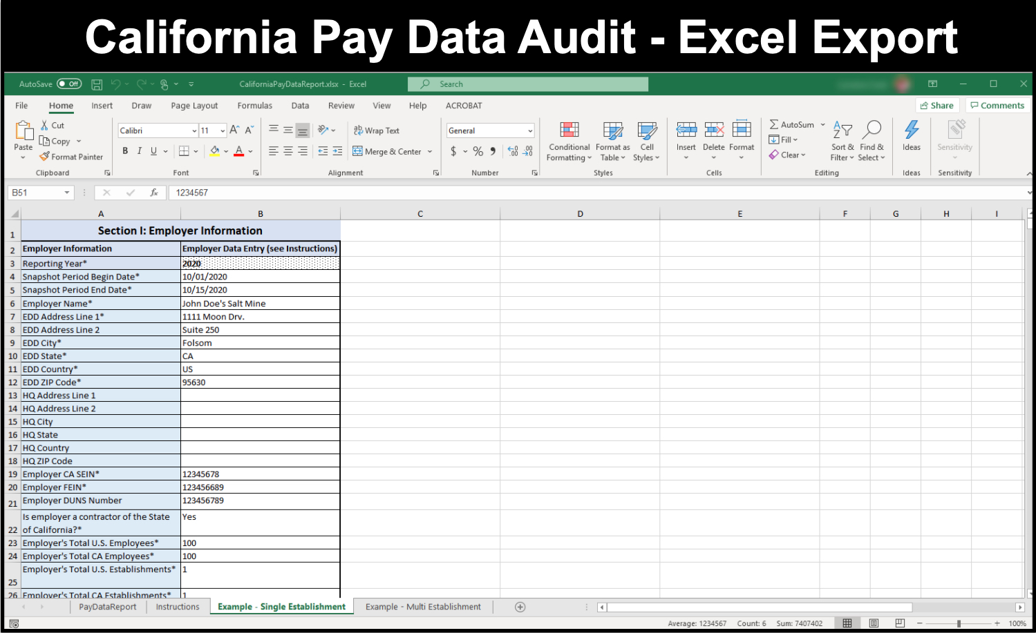 California Pay Data Audit Export Report