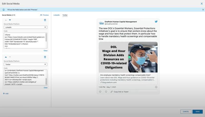Company HUB - Social Media Widget Customization