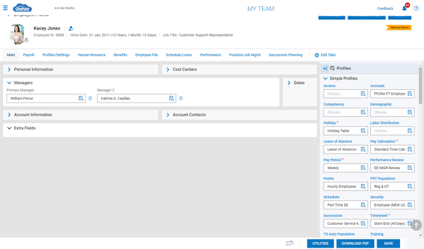 Employee Profile Setting Edit Window