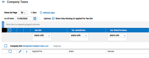 Payroll Audit Report Missing EIN for Company Taxes