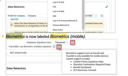 Biometric Signatures Configuration menu