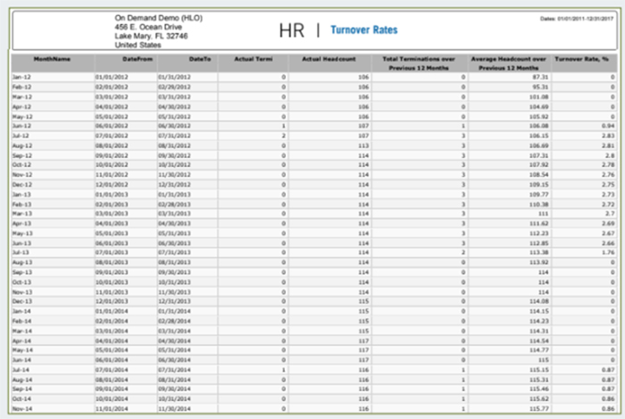 HR Metrics Employee Turnover Rate Report