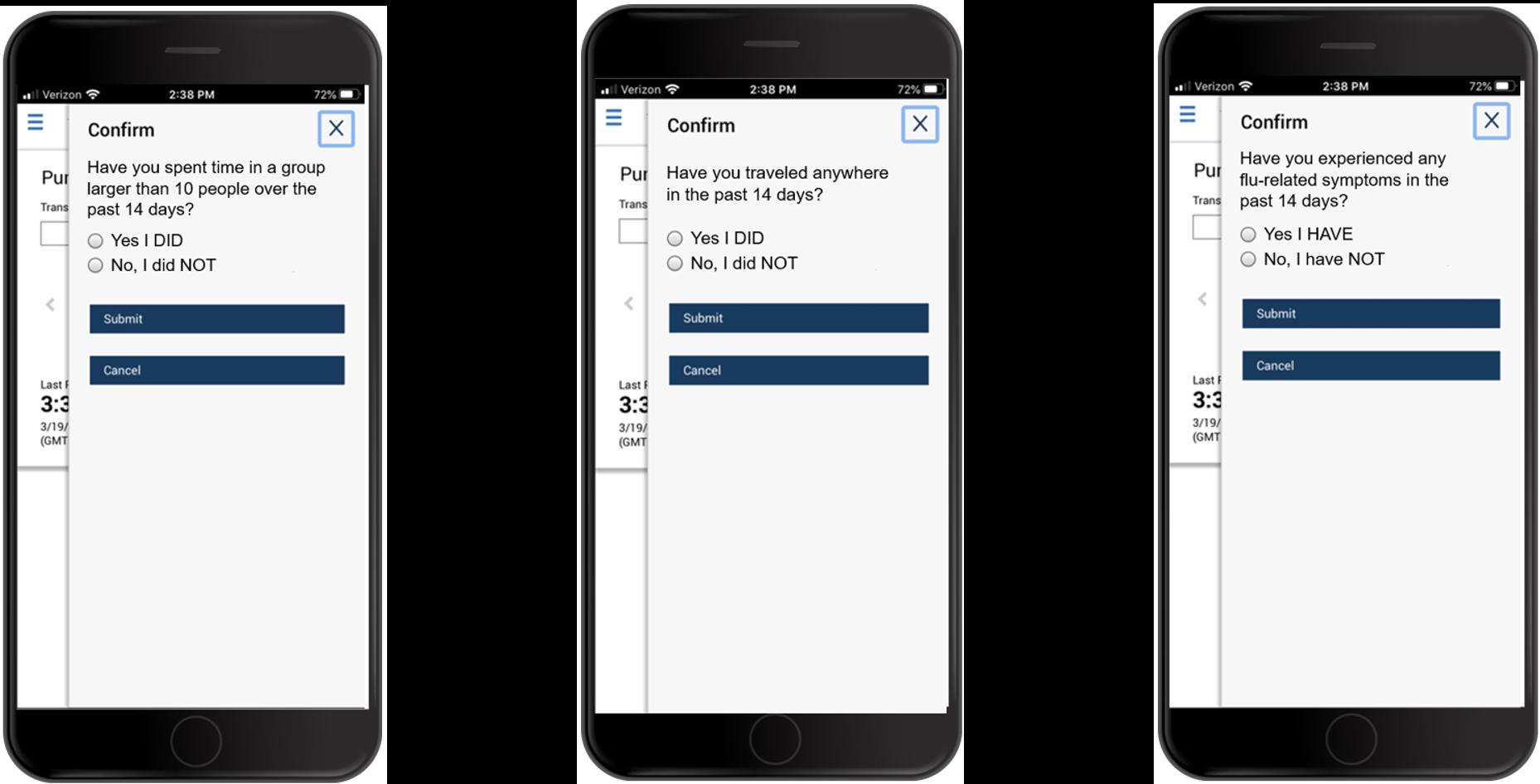 Mobile Attestation questions screenshots