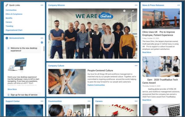 OnePoint Company HUB company intranet example