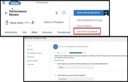 OnePoint Performance Peer Feedback