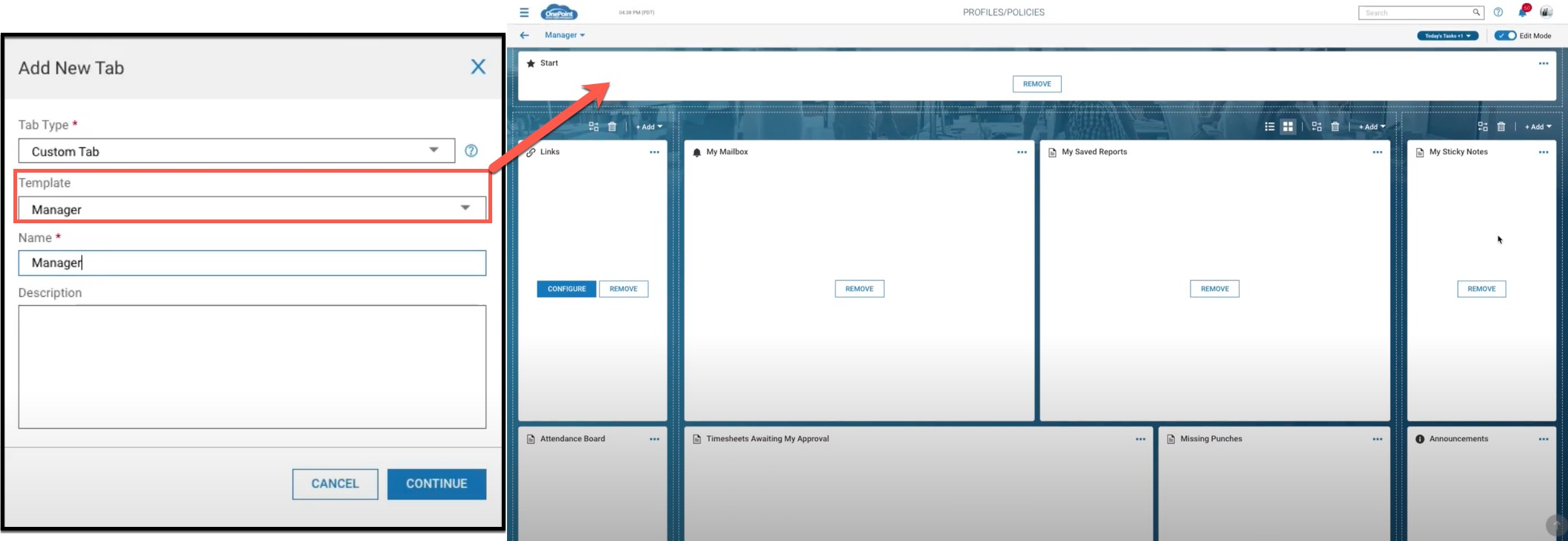 Pre-configured Managers Dashboard Layout search screen