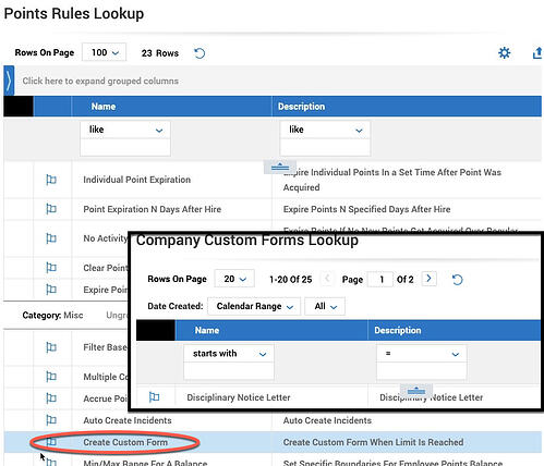 Time and Labor Points Rules and Custom Forms Trigger